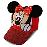 Disney Girls Minnie Mouse Cotton Baseball Cap with 3D Ears, Bow and Glitter Rim (Ages 2-7)