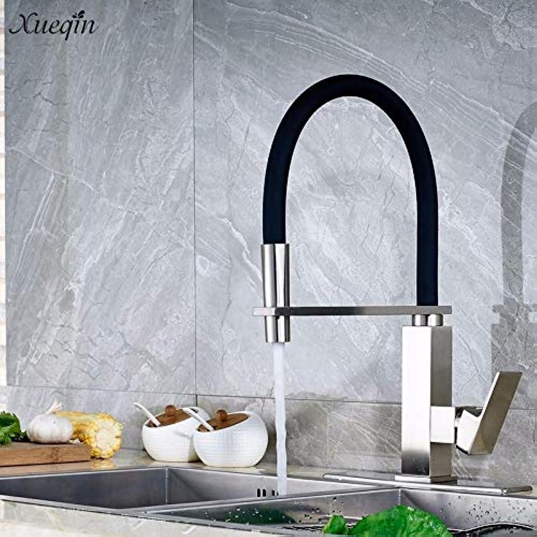 CZOOR Schwarzer Gummi Flexible Pull Down Küchenarmatur Spary 360Rotation Einhand-Düse-Mischbatterie Kalt und hei Deck montiert