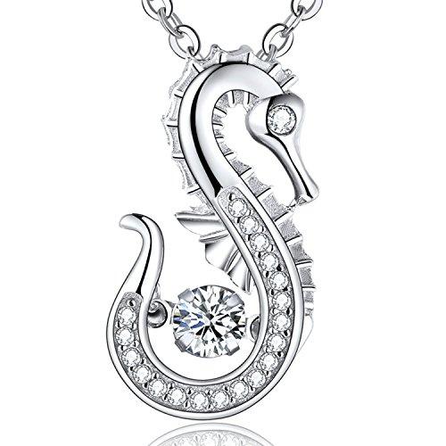 JO WISDOM Halskette Seepferdchen Silber 925,Kette Anhänger Leben im Meer Ozeanleben mit AAA Zirkonia April Geburtsstein