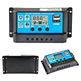 Y&H 10A 12V/24V Solarladeregler Solar Panel Battery Intelligenter Regler mit Dual USB Port 5V Licht Timer Control LCD Display