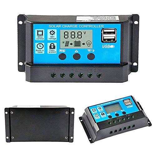 Y&H 10A 12V/24V Solarladeregler Solar Panel Battery Intelligenter Regler mit Dual USB Port 5V Licht Timer Control LCD Display