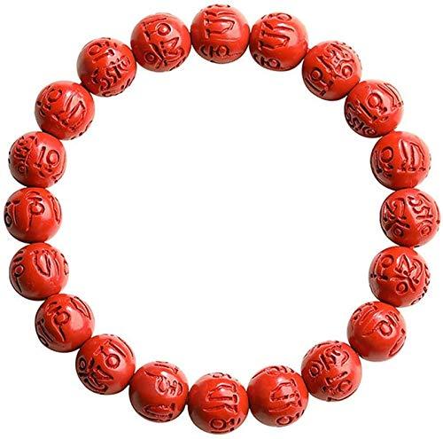 SUCICI Feng Shui Amuleto Pulsera Prosperidad Natural Rojo Cinnabar Grabado Símbolos Atraer Lucky Wealthy Love Transfer Regal Bangle para Mujeres/Hombres, 6mm (Talla : 10mm)