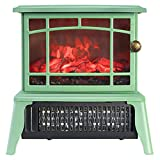 Ashey Calentador de chimenea portátil, mini chimenea eléctrica de escritorio, 1500 W, 2 ajustes, protección contra sobrecalentamiento, escritorio dormitorio, verde