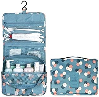 Portable Waterproof Cosmetic Makeup Toiletry Travel Hanging Organizer Storage Bag Pouch - Flower Gray