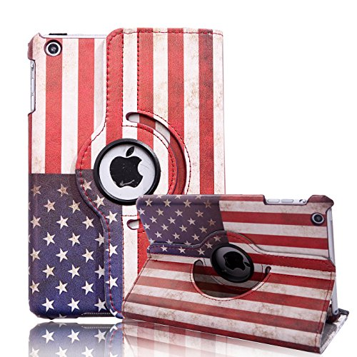 HDE iPad Mini iPad Mini 2/3 Cases and Covers [Auto Sleep/Wake] 360 Rotating Stand for iPad Mini 1/2/3 Retina (American Flag)