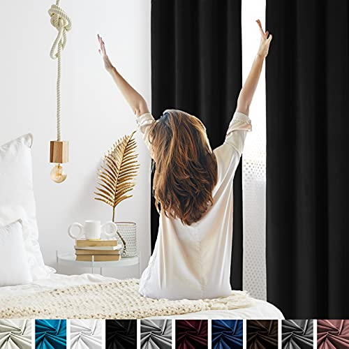 Topthumbs Black Velvet Curtains for Bedroom Blackout, W52xL108 Inches 2 Panels, Grommet Flannel Drapes for Living Room, Window Curtain Panels Treatment Insulation Thermal for Room Darking/Outdoor