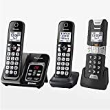 Panasonic Rugged Link2Cell Bluetooth Cordless Phone with Voice Assist, One-Touch Call Block and Answering Machine - 2 Standard Handsets + 1 Rugged Handset - KX-TGD583M2 (Black)