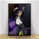 DOAQTE Póster de Mick Jagger Pintura en Lienzo Cuadros Arte de Pared Impresiones en Lienzo Carteles para decoración de la Pared del hogar 50X75cm sin Marco 1 Uds.