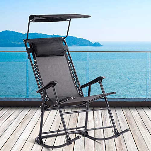 CASART Foldable Rocking Chair, Outdoor Sun Lounger Recliner with Canopy and Head Pillow, Garden Leisure Rocker Armchair for Beach Patio Camping (Black)