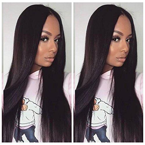 DLW Hair Perruque brésilienne sans colle avec dentelle frontale 360 degrés - Frange complète - Cheveux humains lisses et soyeux - Cheveux vierges - Pour femme noire (35,6 cm)