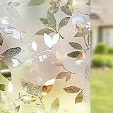 LMKJ Film de fenêtre de Type Feuille Film de confidentialité Statique, Autocollant de Protection de fenêtre en PVC de Protection UV, décoration de fenêtre réutilisable A96 30x100cm