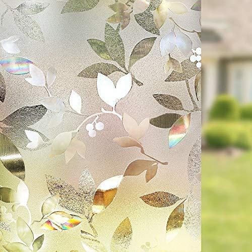 LMKJ Película de privacidad estática de película de Ventana Tipo Hoja, protección UV Etiqueta de protección de Ventana de PVC, decoración de Ventana Reutilizable A96 45x100cm