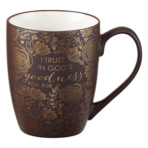 Brown Bible Verse Mug – Floral Faith Mug for Women & Men, Ceramic Coffee Mug w/Gold Trim & Romans 8:28...