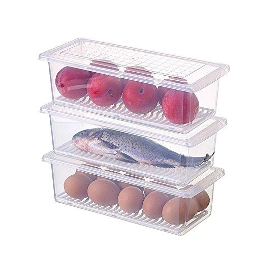 3 recipientes de almacenamiento de alimentos, apilables para nevera, congelador, caja de almacenamiento apilable, contenedor de alimentos, bandeja organizador