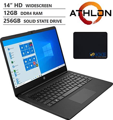 "2020 Newest HP 14"" HD Screen Laptop, AMD Athlon Silver 3050U Processor up to 3.20GHz, 12GB RAM, 256GB SSD, HDMI, Webcam, Wi-Fi, Bluetooth, Zoom Meeting, Online Class, Windows 10, KKE Bundle, Jet Black"