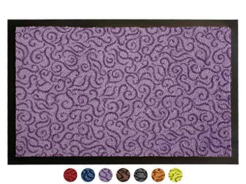 Primaflor - Ideen in Textil Schmutzfangmatte Türvorleger Brasil Sauberlaufmatte - 40x60 cm, Lila Flieder, Fußmatte rutschfest, Waschbar, für Innen und Außen Geeignet
