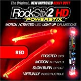 ROCKSTIX 2 HD RED, BRIGHT LED LIGHT UP DRUMSTICKS, with fade effect, Set your gig on fire! (RED...