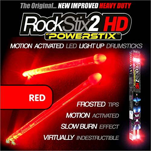 Price comparison product image ROCKSTIX 2 HD RED,  BRIGHT LED LIGHT UP DRUMSTICKS,  with fade effect