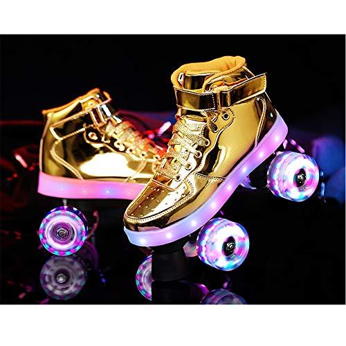 ZLZNX Zweireihige Rollschuhe, LED Wiederaufladbare 4 Hohe Elastizität PU-Rollen-Skate, Breathable Adjustable Männer und Frauen Indoor Outdoor Rollschuhe,Gold,35