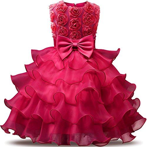 NNJXD Mädchen Kleid Kinder Rüschen Spitze Party Brautkleider Größe(100) 2-3 Jahre Blumen Rose