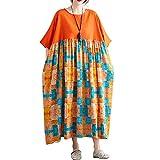 Romacci Women Vintage Cotton Linen Maxi Long Dress O Neck Short Sleeve Spliced Casual Loose Dress Plus Size Dress with Side Pockets