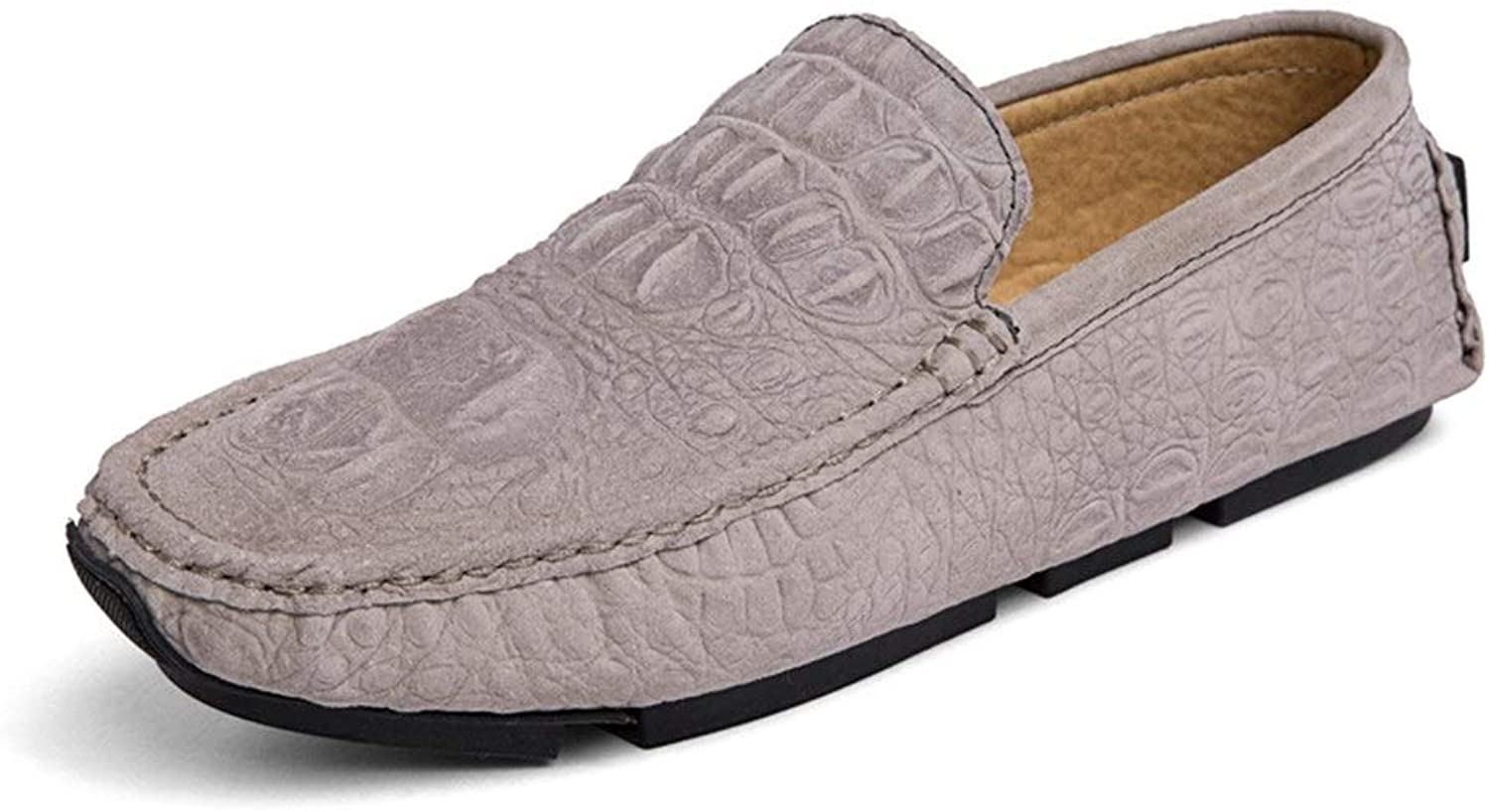 Fashion Embossed Penny Loafers for Men Genuine Leather Lightweight Breathable Business Dress Wedding Casual shoes Anti-slip Flat Slip-on Round Toe Cricket shoes (color   Khaki, Size   9 UK)