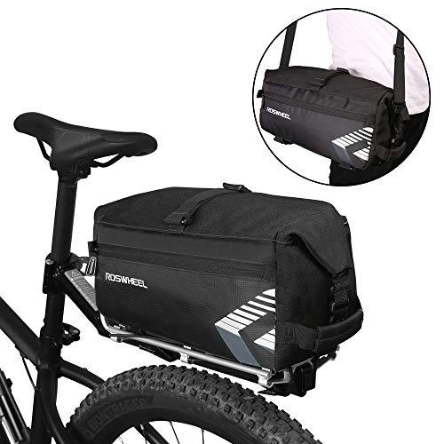 WOTOW Fahrradtaschen Gepäckträger Wasserdicht Multifunktions 6L Massive Kapazität Fahrradhinten Sitz Trunk Bag mit Zwei Schultergurt Tasche für im Freien Reisende