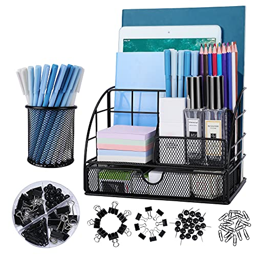 Office Supplies Desk Organizer Caddy with 6 Compartments + Pen Holder / 72 Accessories, Mesh Desk Organizers with Drawer, for Office, Home, School (Black)