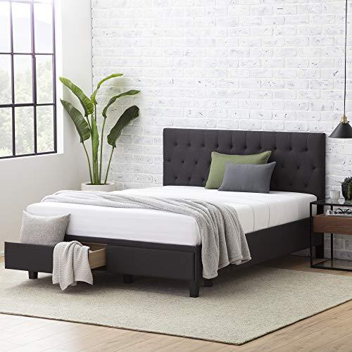 Everlane Home Windsor Upholstered Bed with Built-in Drawers-Diamond Tufted Headboard-Fabric Finish-Easy Setup Platform, King, Slate