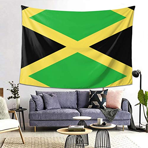 Jamaica Flag Art Design Tapestry Art Decoration Bedroom Living Room and Dormitory Decoration, Seamless Nail Hooks are Easy to Install 80 X 60 Inch