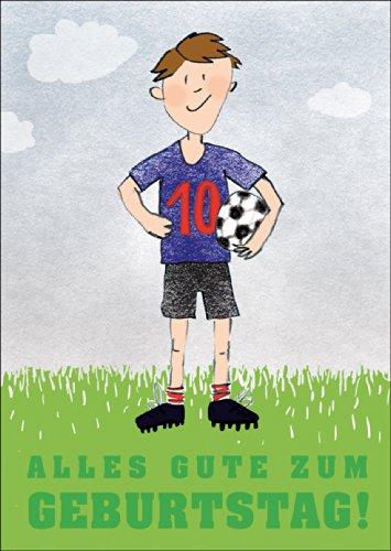 Alles goed voor een verjaardag! Wenskaart voor de 10e verjaardag met coole voetballer • ook voor het direct verzenden met uw persoonlijke tekst als inlegger. • Elegante verjaardagskaart met envelop voor vrienden en familie