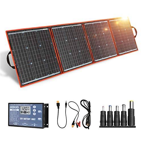 DOKIO 160 Watts 12 Volts Monocrystalline Foldable Solar Panel Kit with Solar Charger Controller for RV Camping Canavas