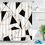 LB Abstract Geometric Shower Curtain, Black and White Marble Texture Bathroom Curtain Set with Hooks,78x72 Inch Waterproof Fabric Bathtub Decor