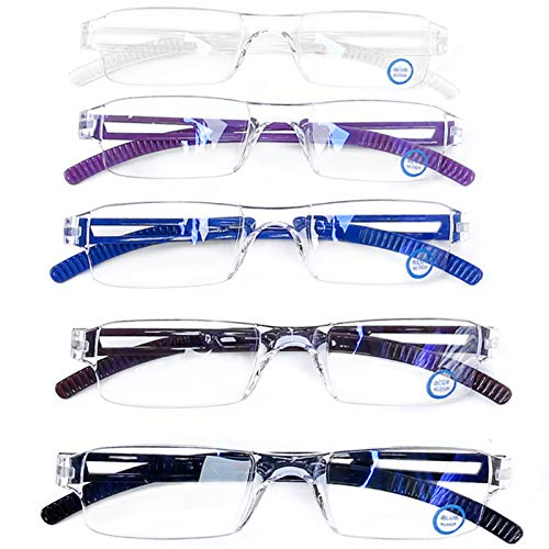 Blue Light Blocking Computer Reading Glasses - AQWANO 5 Pack Clear Frame Rimless Readers Anti Glare Filter Lightweight Eyeglasses for Women Men (5 Pack Mix Color, 1.5)