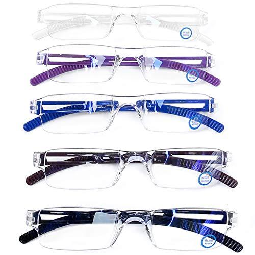 Blue Light Blocking Computer Reading Glasses - AQWANO 5 Pack Clear Frame Rimless Readers Anti Glare Filter Lightweight Eyeglasses for Women Men (5...