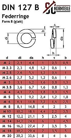 M3 Federringe Edelstahl Federscheiben DIN 127 Form B A4 V4A 10 St/ück B 3