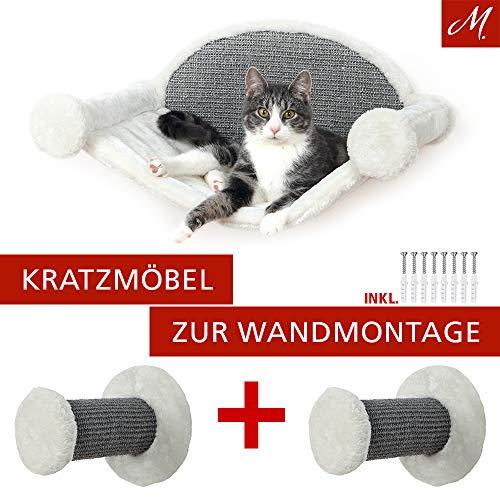 M.Versand Katzen Kratzmöbel zur Wandmontage, 3 TLG. - Hängematte + 2X Kletterstufen inkl. Schrauben - Katzen-Kletterparadies