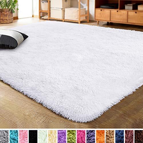 LOCHAS Ultra Soft Indoor Modern Area Rugs Fluffy Living Room Carpets for Children Bedroom Home Decor Nursery Rug 4x5.3 Feet, White