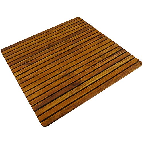 PrimeMatik - Tarima para Ducha y baño Cuadrada 61 x 61 cm de Madera de Teca certificada