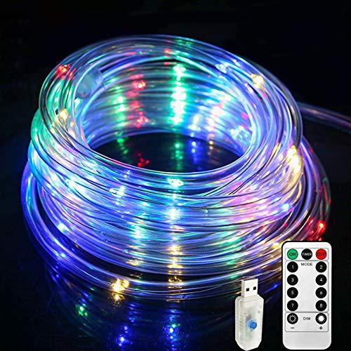 Lamker Manguera Luces de Hadas 10M 100 LED USB Multicolor con Remoto Temporizador Guirnaldas Cuerda Luz Interior Exterior Impermeable IP65 para Navidad Jardín Balcón Terraza Iluminación Decor 8 Modos