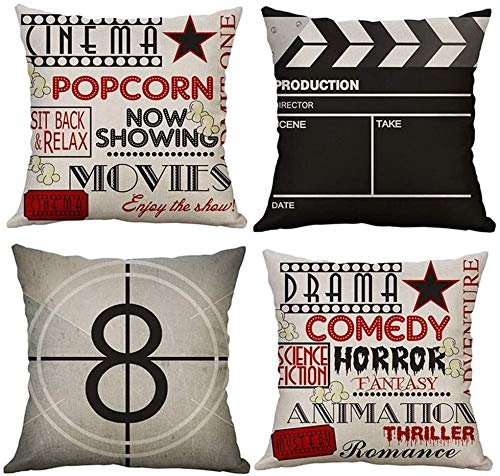 LAXEUYO Pack of 4 Cushion Covers, Movie Theater Cinema Personalized Pattern Cotton Linen Decorative Throw Pillow Covers Pillow Cases for Sofa 18x18 inches
