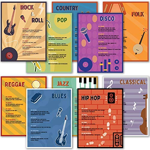 10 Music Genre Posters for Classrooms - Music Classroom Decorations for Elementary School Teaching.