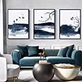 CloudShang Chino Nuevo Abstracto Tinta Paisaje Pinturas Azul Poster Vuelo Aves Poster Paisaje Pared Arte Cuadro Lona Arte Salon Pared Decoracion D06122