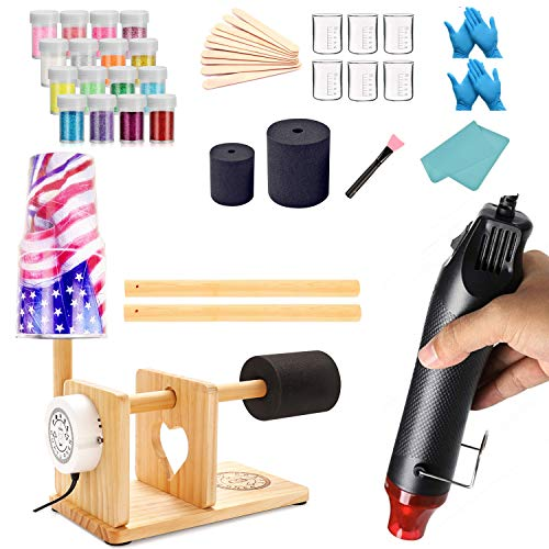 Cup Turner for Crafts Tumbler Tumbler Turner Cup Rotisserie Turner Kit for DIY Cuptisserie Glitter Epoxy Crafts Tumblers (Hot Air&Turner)