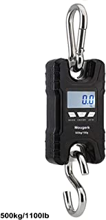 Mougerk 500 kg 1100 lb Portable Heavy Duty Digital Crane Scale Hanging Scales 2 AAA Batteries(Not Included)