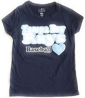 MLB Baseball Tampa Bay Rays Girl's Crew Neck T-Shirt, Blue, 6X