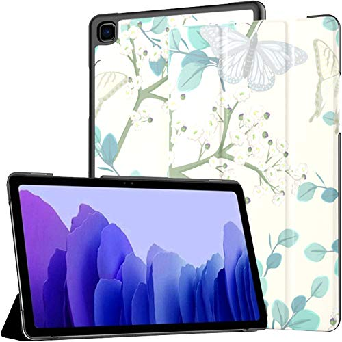 Samsung A7 Tablet Case Butterflies White Flowers Case For Samsung Galaxy Tab A7 10.4 Inch 2020 Release Protective Case Samsung Galaxy A7 Case Cover Tablet Pu Leather Case