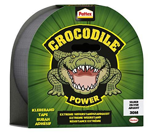 Pattex Crocodile Power Klebeband, starkes Gewebeband mit doppelter Dicke, extreme Widerstandsfähigkeit für schwierigste Reparaturen, Duct Tape für verschiedene Materialien, silber, 1 x 30m