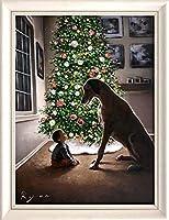 油絵 静物画ホーリーナイトRyan作 肉筆1点物 子供 犬 クリスマス 冬 ホビーアイテム
