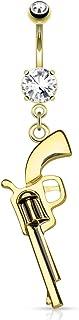 HBJ Unisexo Bananabell Piercing En El Ombligo Pistola Acero Inoxidable Zirconia Claro N15690